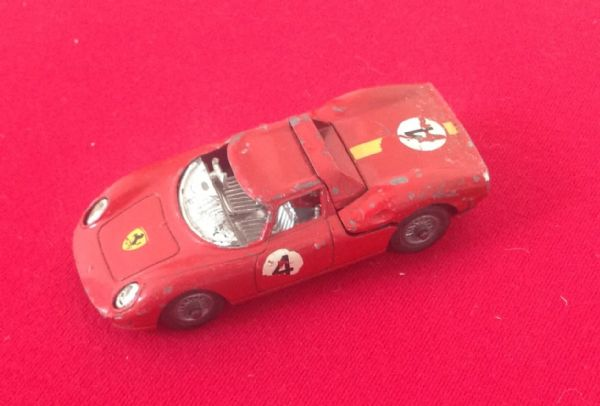 Corgi #314 - Original - Ferrari Berlinetta 250 Le Mans ( Missing Windscreen and Damaged Steering Wheel and rear exhaust broken )